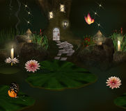 Enchanted pond and elf house. Enchanted nature series - enchanted pond and elf house Stock Images
