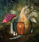 Enchanted pumpkin house in the middle of the forest royalty free illustration