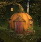 Enchanted pumpkin house in the forest vector illustration