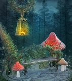 Enchanted resting place in a dark mysterious forest. Fantasy enchanted resting place with a bench, mushrooms and one lantern - 3D illustration royalty free illustration