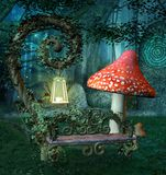 Resting place in the magic forest stock illustration