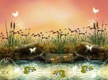 Enchanted river. A wonderful river bank illustration Royalty Free Stock Photos