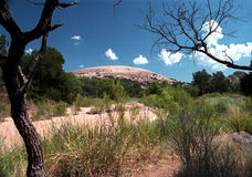 Enchanted Rock State Natural Area. Texas, features a granite exfoliation dome, part of the Town Mountain Granite formation in central Texas stock images