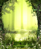 Enchanted Romantic Forest. 3D illustration of a beautiful view over a enchanting, romantic forest pond stock illustration