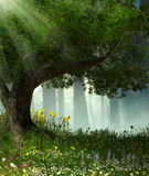 Enchanted Romantic Forest. 3D illustration of a large tree in an enchanted romantic forest stock illustration