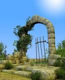 Enchanted Secret Garden Gate Arch. 3D illustration of enchanted gate arch leading into a secret romantic garden Royalty Free Stock Image
