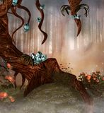 Enchanted tree with crystals and flowers. Mysterious fantasy tree with crystals and flowers in a foggy glade - 3D illustration vector illustration