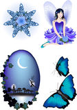 Enchanted Vector Illustration Collection. Elven Star, Bluebell Fairy, a moonlit silhouette and Morpho Butterfly royalty free illustration