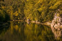 Enchanted view of Nera river gorge in Umbria near Narni. Umbria royalty free stock images