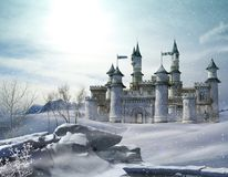 Enchanted Winter Fairytale Princess Castle Royalty Free Stock Photos