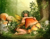 Enchanted Wood, 3d CG. 3d computer graphics of a fairy with a wreath on her head, leaning against a fungus Stock Photography
