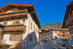 Enchanting Bavarian-styled houses in Garmisch-Partenkirchen Royalty Free Stock Image