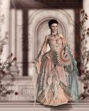 Enchanting Beautiful Victorian Woman in Pretty Rose Colored Dress. Classical building in background, 3d render painting royalty free illustration