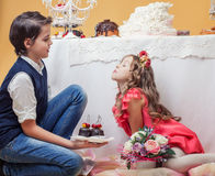 Enchanting children posing in studio Royalty Free Stock Photos
