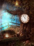 Enchanting Clock Tree Time Fantasy. 3D render illustration of an enchanting Clock Tree Time fantasy scenario in a forest Royalty Free Stock Image