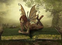 Enchanting Elemental Earth Fairy Fantasy. Enchanting elemental Earth fairy lying on an opened book in a fantasy landscape, 3d render royalty free stock photos