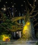 Enchanting Fantasy Fairy Tree House. 3D rendering of a enchanting fairy tale tree and pumkin house in a deep forest Stock Photo