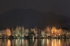 Enchanting illumination at West Lake, Hangzhou, China Stock Photography