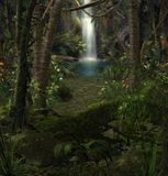 Enchanting jungle waterfall scenery. 3D render of an enchanting magical Waterfall in a dense jungle forest landscape with flowers, vines and palm trees Stock Images