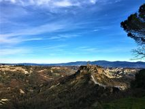 Enchanting landscape and Civita di Bagnoregio town. In the province of Viterbo, Italy. Civita di Bagnoregio was founded by Etruscans more than 2,500 years ago royalty free stock photos