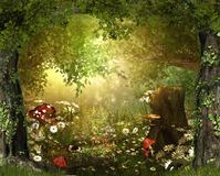 Enchanting Lush ,Fairy Tale Woodland. Beautiful enchanting fairy tale lush woodland full of wonder, 3d render illustration royalty free stock photos