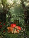 Enchanting Magical Fairy Woods Concept. 3D rendering of a enchanting fairy forest opening with magical trees in the background Stock Photo