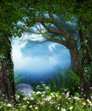 Enchanting magical fairy woods opening. 3D rendering of a enchanting fairy forest opening with flowers Stock Image