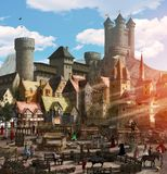 Enchanting Medieval Fantasy Town Marketplace vector illustration