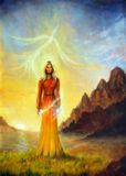 An enchanting mystical priestess with a sword of light and phoenix bird, graphic effect. Stock Photos