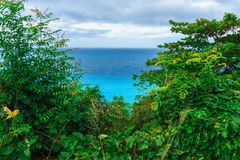 Enchanting natural wild landscape with rocky mountains overgrown dense green jungle tree, palm and clear azure water of sea ocean stock image