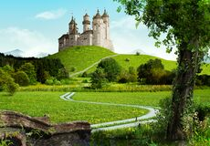 Free Enchanting Old Fairytale Castle On A Top Of A Hill Stock Images - 177332674