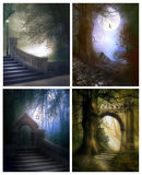 Enchanting places. Set four images of mysterious fantasy places stock photos