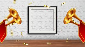 Enchanting Presentation In Exhibition Hall Vector. Golden Fanfare Trumpets With Red Flags, Foil Confetti And Picture Frame On Brick Wall Elements Of stock illustration