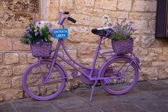 The Enchanting Streets of Asssi. A very purple bicycle along the enchanting streets of Assisi, Italy royalty free stock images