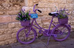 The Enchanting Streets of Asssi. A very purple bicycle along the enchanting streets of Assisi, Italy royalty free stock image
