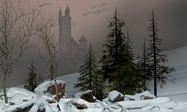Enchanting Winter Landscape with Castle. 3D rendering of a magical fairy winter landscape with a castle in the background Royalty Free Stock Photography