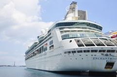 Enchantment of the Seas cruise ship in Nassau. Royal Caribean International Enchantment of the Seas cruise ship docked in Nassau, Bahamas stock images