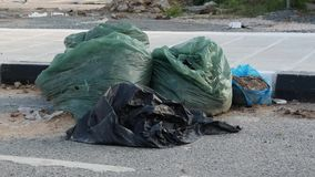 Encheu inteiramente os escaninhos de lixo plásticos verdes derramados na rua Desperdice e recicle o conceito vídeos de arquivo