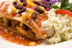 Enchilada. With vegetables close-up Royalty Free Stock Photo
