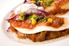 Enchilada. With meat dressed with red onion and cream Royalty Free Stock Image