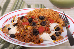 Enchilada With Meat Sauce Stock Image