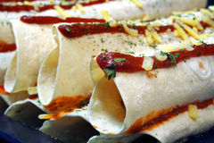 Enchilada preperation royalty free stock image