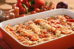 Enchiladas - alimento mexicano, tortilha com galinha, queijo e tomates imagem de stock royalty free