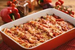 Enchiladas - alimento mexicano, tortilha com galinha, queijo e tomates foto de stock royalty free
