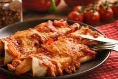 Enchiladas - alimento mexicano, tortilha com galinha, queijo e tomates fotos de stock royalty free