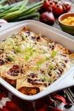 Enchiladas del pollo con la salsa de tomate, el maíz, las habas y el queso picantes Fotos de archivo libres de regalías