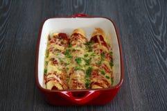 Enchiladas del pollo y del chorizo Fotografía de archivo libre de regalías