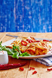 Enchiladas dish with red hot chili with sour cream Royalty Free Stock Photography