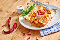 Enchiladas dish with red hot chilli front view Stock Photography
