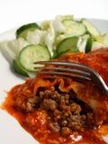 Enchiladas eating fork salsa royalty free stock photo